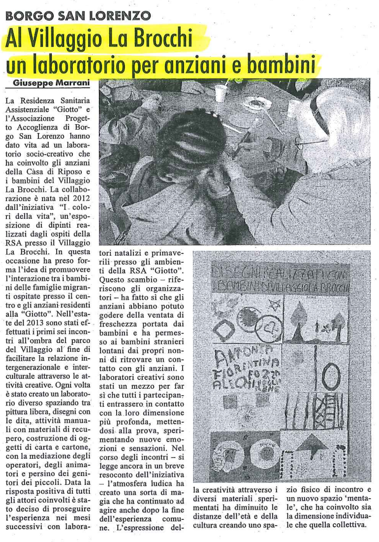 RSA Giotto: Al Villaggio La Brocchi un laboratorio per anziani e bambini