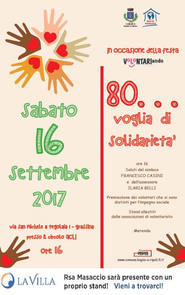 """80 voglia di solidarietà – festa """"Volontariando"""""""