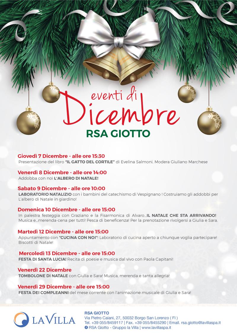 Albero Di Natale 8 Dicembre.Rsa Giotto Gli Eventi Di Dicembre La Villa