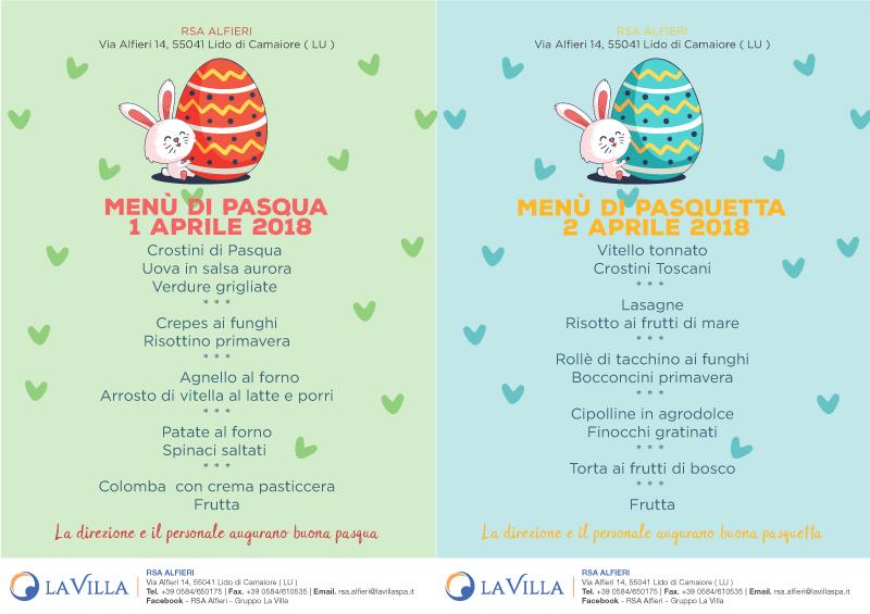 Pasqua e Pasquetta all'Alfieri, ecco i menu