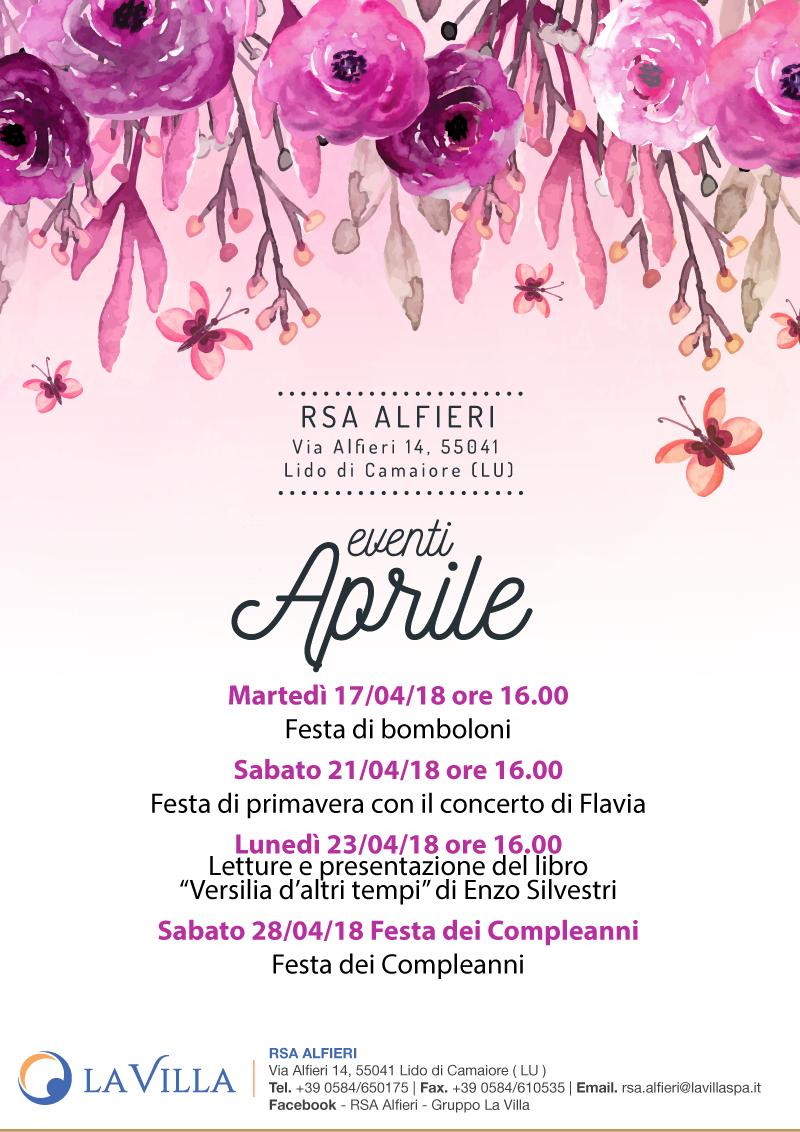 Gli eventi di Aprile all'Alfieri