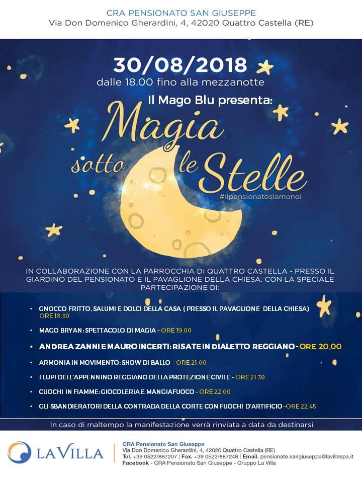 """""""Magia Sotto Le Stelle"""": a Quattro Castella torna la festa di fine estate organizzata da CRA Pensionato San Giuseppe e la Parrocchia"""