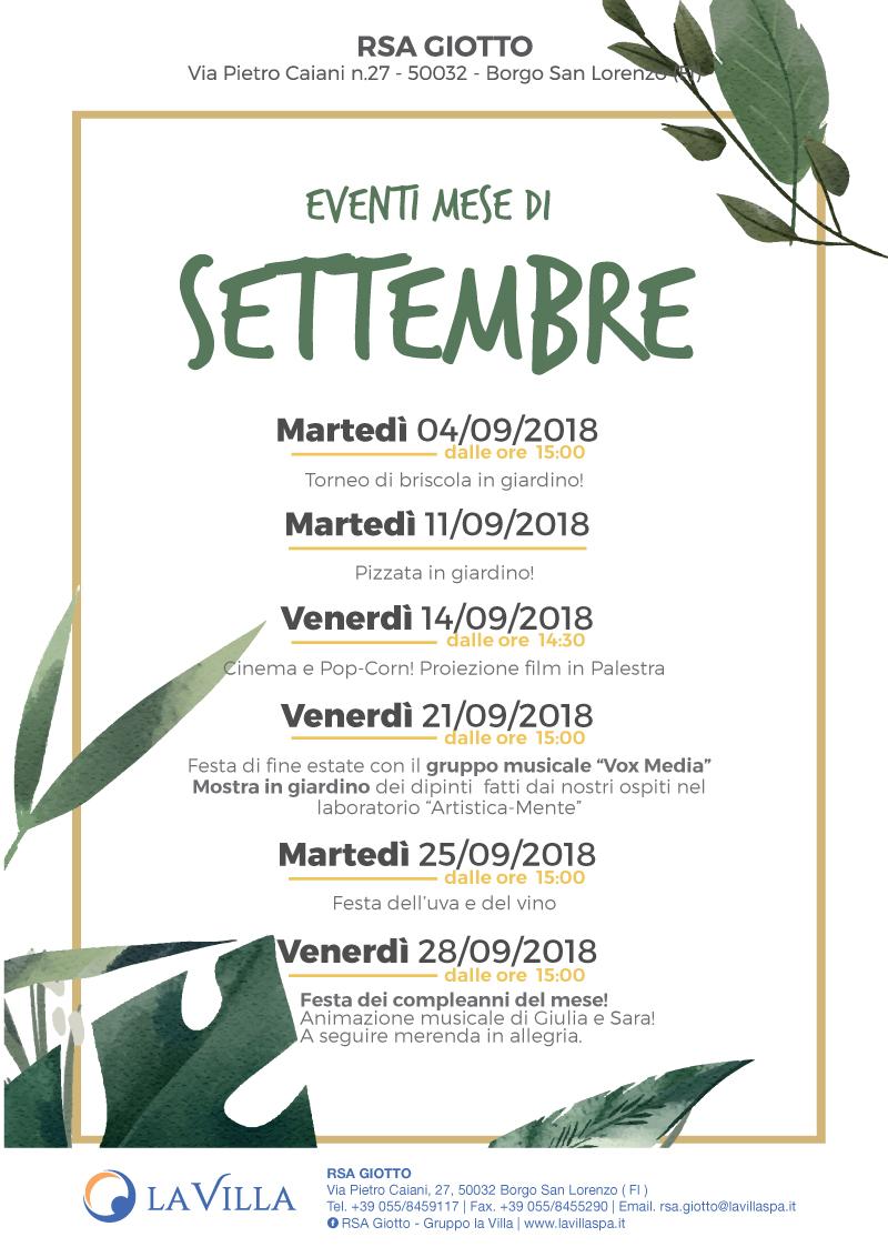 Gli eventi di Settembre alla Giotto