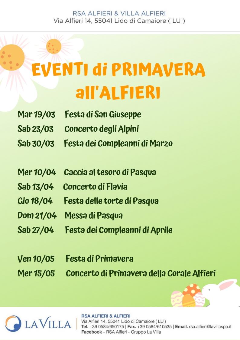 Eventi di primavera all'Alfieri