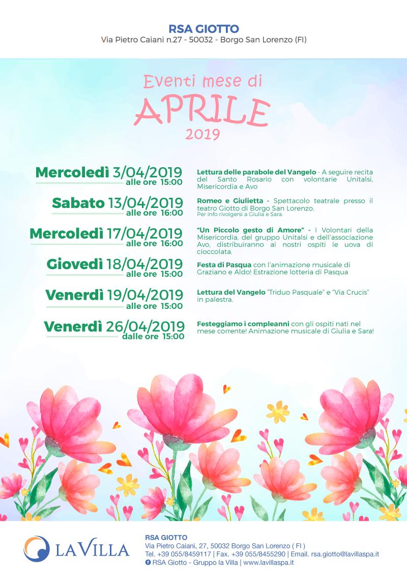 Gli eventi di Aprile alla Giotto